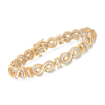 3.90 ct. t.w. Baguette Diamond Infinity Link Bracelet in 14kt Yellow Gold
