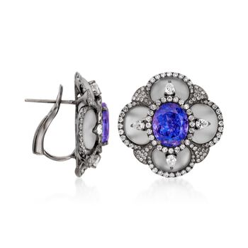6.75 ct. t.w. Tanzanite and 1.86 ct. t.w. Diamond Earrings in 18kt White Gold, , default