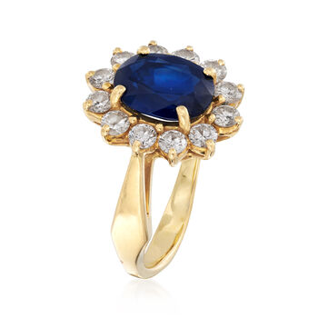 C. 1980 Vintage 2.35 Carat Sapphire and .85 ct. t.w. Diamond Ring in 18kt Yellow Gold. Size 5.5, , default
