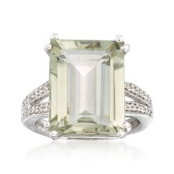 11.00 Carat Green Amethyst and .10 ct. t.w. White Topaz Ring in Sterling Silver, , default