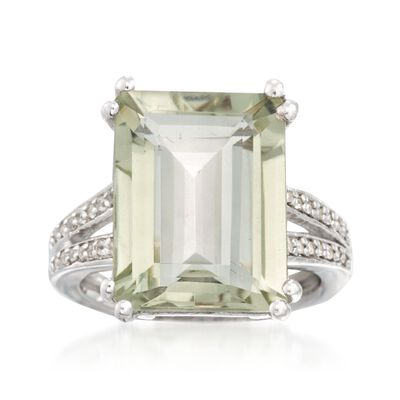 11.00 Carat Green Prasiolite and .10 ct. t.w. White Topaz Ring in Sterling Silver, , default