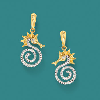 .20 ct. t.w. Diamond Seahorse Drop Earrings in 14kt Yellow Gold