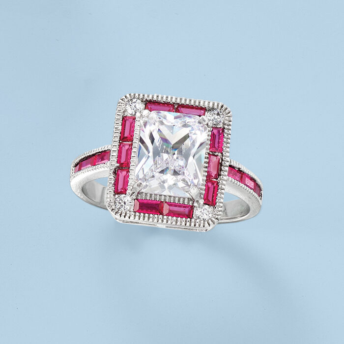 2.60 ct. t.w. CZ and .20 ct. t.w. Simulated Ruby Ring in Sterling Silver