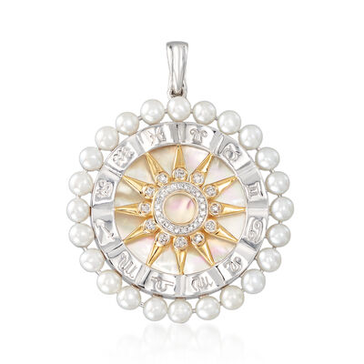 26mm Mother-Of-Pearl, Cultured Pearl and .10 ct. t.w. Diamond Zodiac Pendant in Two-Tone Sterling Silver, , default