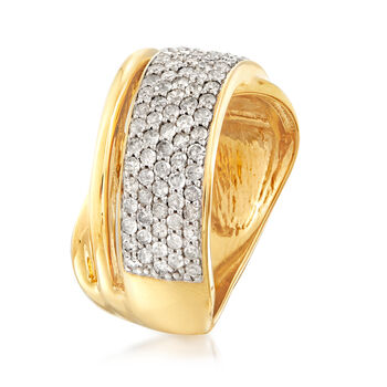 1.00 ct. t.w. Pave Diamond Sash Ring in 18kt Gold Over Sterling