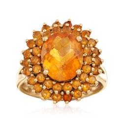 C. 1990 Vintage 4.60 ct. t.w. Citrine Ring in 14kt Yellow Gold, , default