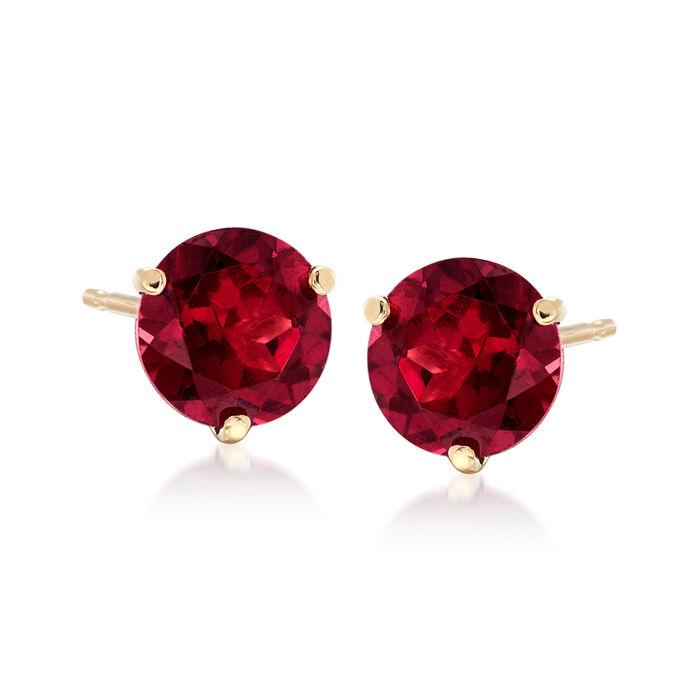 3.30 ct. t.w. Rhodolite Garnet Stud Earrings in 14kt Yellow Gold