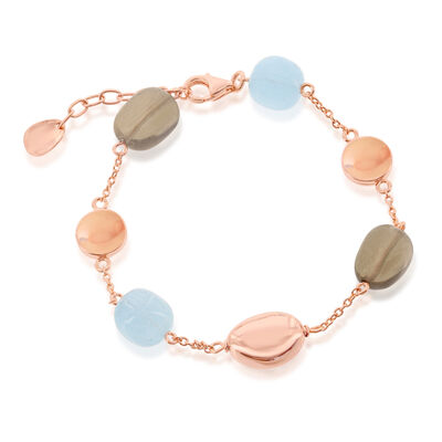 14.00 ct. t.w. Aquamarine and 14.00 ct. t.w. Smoky Quartz Bead Bracelet in 18kt Rose Gold Over Sterling, , default