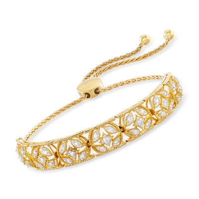 .50 ct. t.w. Diamond Openwork Bolo Bracelet in 18kt Gold Over Sterling
