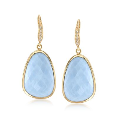 Blue Opal and .10 ct. t.w. Diamond Earrings in 18kt Yellow Gold Over Sterling Silver, , default