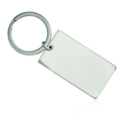 Stainless Steel Brushed and Polished Rectangle Reversible Key Chain, , default