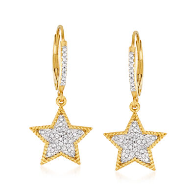 .33 ct. t.w. Diamond Star Drop Earrings in 18kt Gold Over Sterling