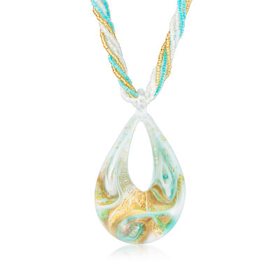 Italian Multicolored Murano Glass Bead Pendant Necklace with 18kt Gold Over Sterling