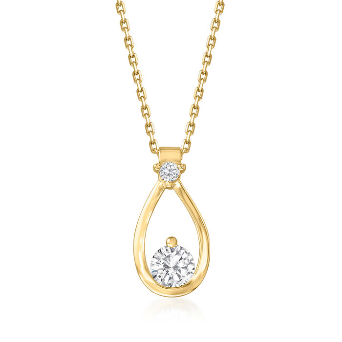 1.40 ct. t.w. CZ Jewelry Set: Pendant Necklace and Drop Earrings in 18kt Gold Over Sterling