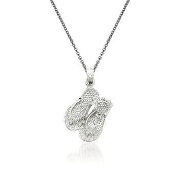 """14kt White Gold Flip-Flop Pendant Necklace. 18"""", , default"""