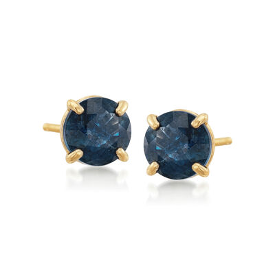 .60 ct. t.w. Round Sapphire Stud Earrings in 14kt Yellow Gold