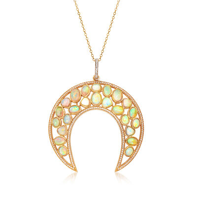 Opal and 1.10 ct. t.w. CZ Crescent Moon Necklace in 18kt Gold Over Sterling, , default