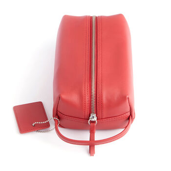 Royce Red Leather Compact Toiletry Bag