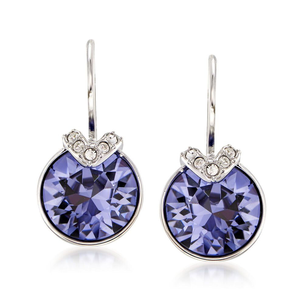 a6bdccf7e199 Swarovski Crystal  quot Bella quot  Purple and Clear Crystal V-Shaped Drop  Earrings in