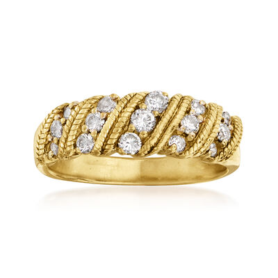 C. 1990 Vintage .50 ct. t.w. Diamond Roped Ring in 18kt Yellow Gold