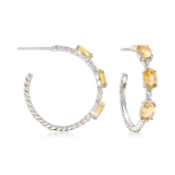 "2.70 ct. t.w. Citrine Hoop Earrings in Sterling Silver. 1"", , default"