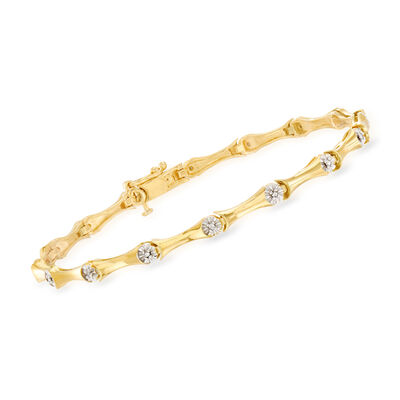 .10 ct. t.w. Diamond Station Bracelet in 18kt Gold Over Sterling, , default