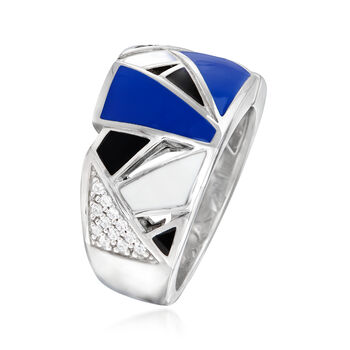 Belle Etoile Spectrum Enamel and .21 ct. t.w. Black and White CZ Ring in Sterling Silver. Size 7