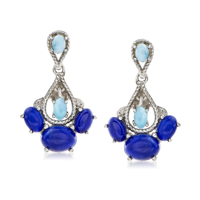 Lapis and Larimar Drop Earrings in Sterling Silver