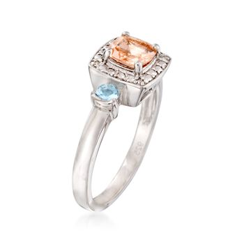 .90 Carat Morganite and .10 ct. t.w. Aquamarine Ring with Diamond Accents in Sterling Silver. Size 5, , default