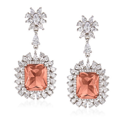 12.00 ct. t.w. Simulated Morganite and 3.65 ct. t.w. CZ Drop Earrings in Sterling Silver