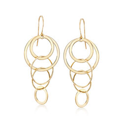 14kt Yellow Gold Multi-Circle Drop Earrings, , default