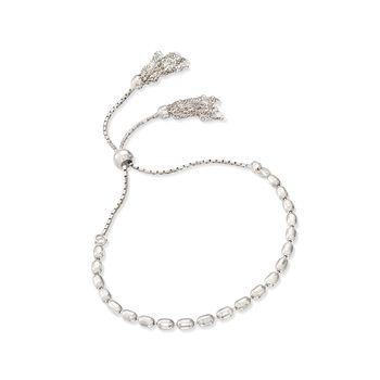 Italian Sterling Silver Bead and Tassel Bolo Bracelet, , default