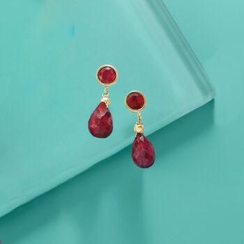 11.00 ct. t.w. Ruby Drop Earrings in 14kt Yellow Gold