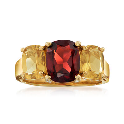 C. 1990 Vintage 2.35 Carat Garnet and 1.40 ct. Citrine Ring in 10kt Yellow Gold, , default