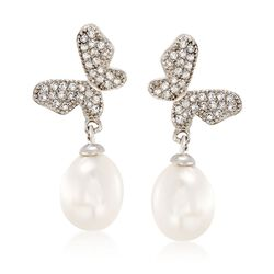 8-8.5mm Cultured Pearl and .60 ct. t.w. White Topaz Butterfly Drop Earrings in Sterling, , default
