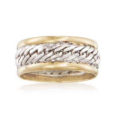 14kt Yellow Gold and Sterling Silver Curb-Link Ring, , default