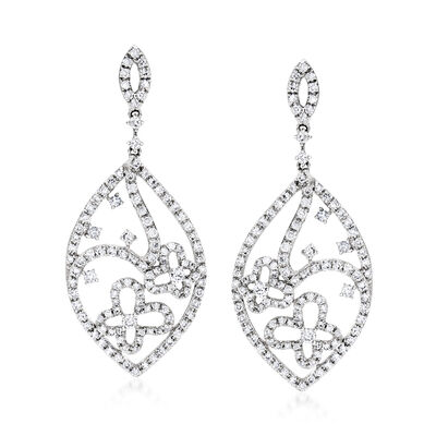 C. 1990 Vintage Giantti 1.20 ct. t.w. Diamond Flower Drop Earrings in 18kt White Gold, , default
