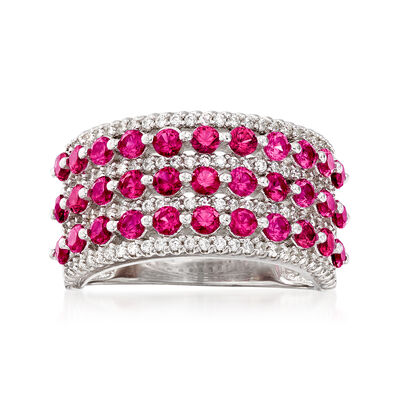 2.60 ct. t.w. Simulated Ruby and .54 ct. t.w. CZ Multi-Row Ring in Sterling Silver, , default