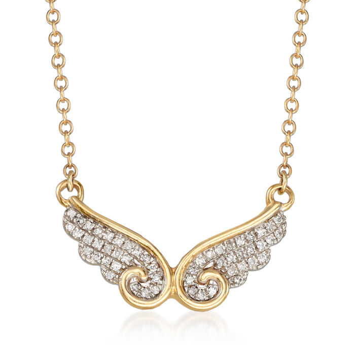 .10 ct. t.w. Diamond Wing Necklace in 14kt Yellow Gold