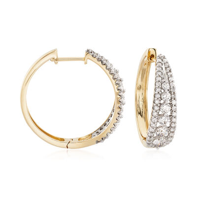 2.00 ct. t.w. Diamond Graduated Hoop Earrings in 14kt Yellow Gold, , default