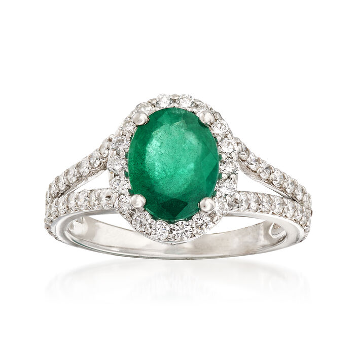 1.60 Carat Emerald and .85 ct. t.w. Diamond Ring in 14kt White Gold, , default