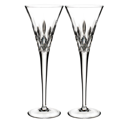 "Waterford Crystal ""Pops"" Set of 2 Lismore Flute Glasses"