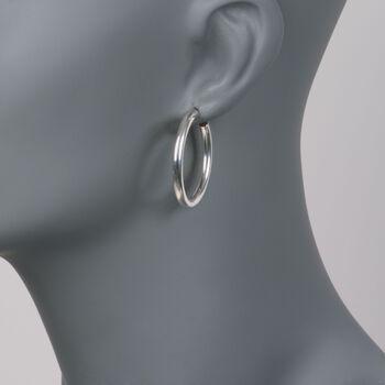 """Zina Sterling Silver Hoop Earrings. 1 1/4"""", , default"""