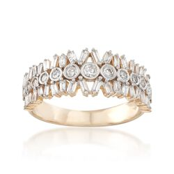 .66 ct. t.w. Round and Baguette Diamond Ring in 14kt Yellow Gold, , default