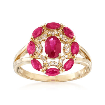 1.40 ct. t.w. Ruby Ring with Diamond Accents in 14kt Yellow Gold, , default