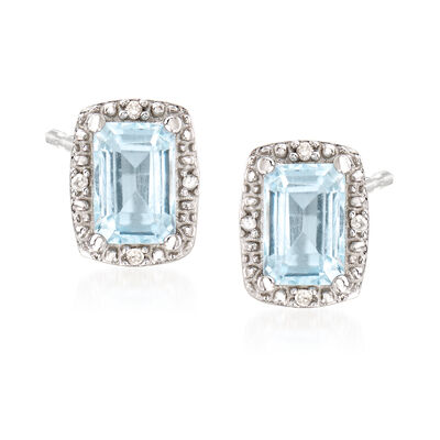 1.00 ct. t.w. Aquamarine Stud Earrings with Diamond Accents in Sterling Silver, , default
