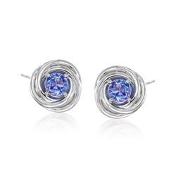 1.00 ct. t.w. Tanzanite Swirl Earrings in Sterling Silver , , default