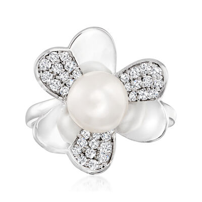8mm Cultured Pearl and .30 ct. t.w. White Topaz Clover Ring in Sterling Silver