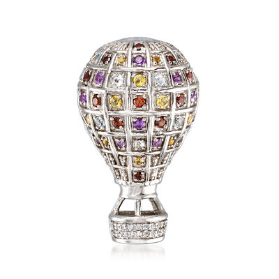 1.10 ct. t.w. Multi-Gemstone Hot Air Balloon Pin in Sterling Silver, , default