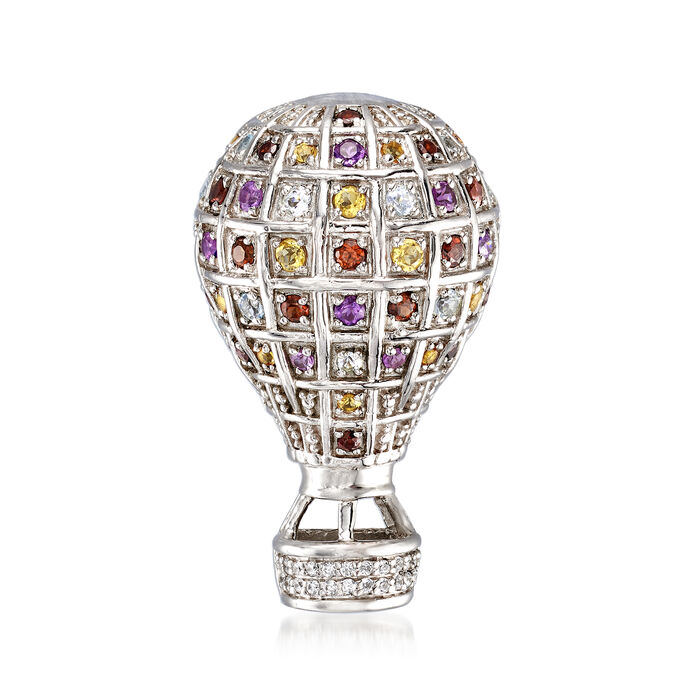 1.10 ct. t.w. Multi-Gemstone Hot Air Balloon Pin in Sterling Silver